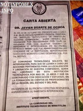 Carta a Duarte por secuestro de maestra en tecnológico de Minatitlán, Veracruz