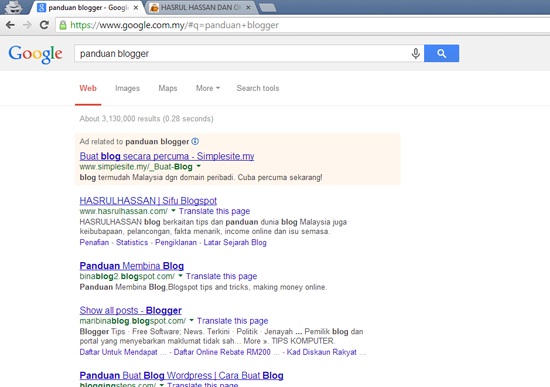 Mustahil Berada Tempat Pertama Google Malaysia