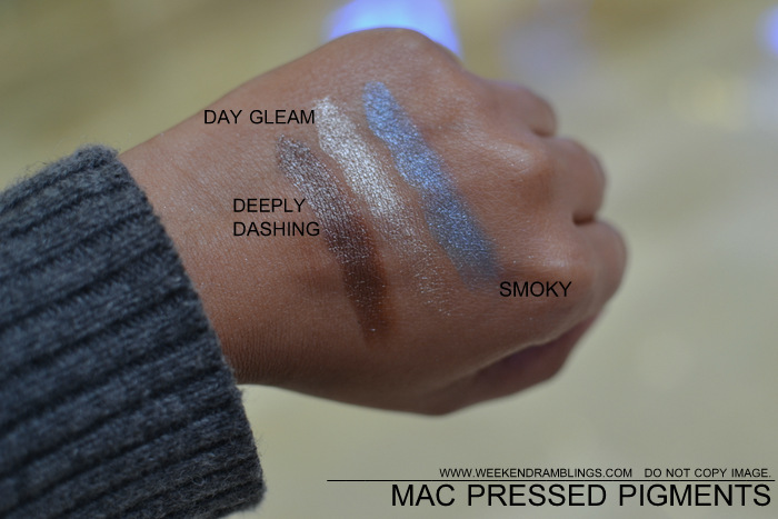 mac pressed pigments makeup collection indian beauty blog darker skin swatches eyeshadows deeply dashing day gleam smoky