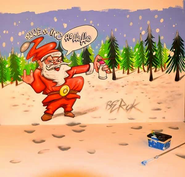 Graffiti de Navidad con Santa Claus grafitero