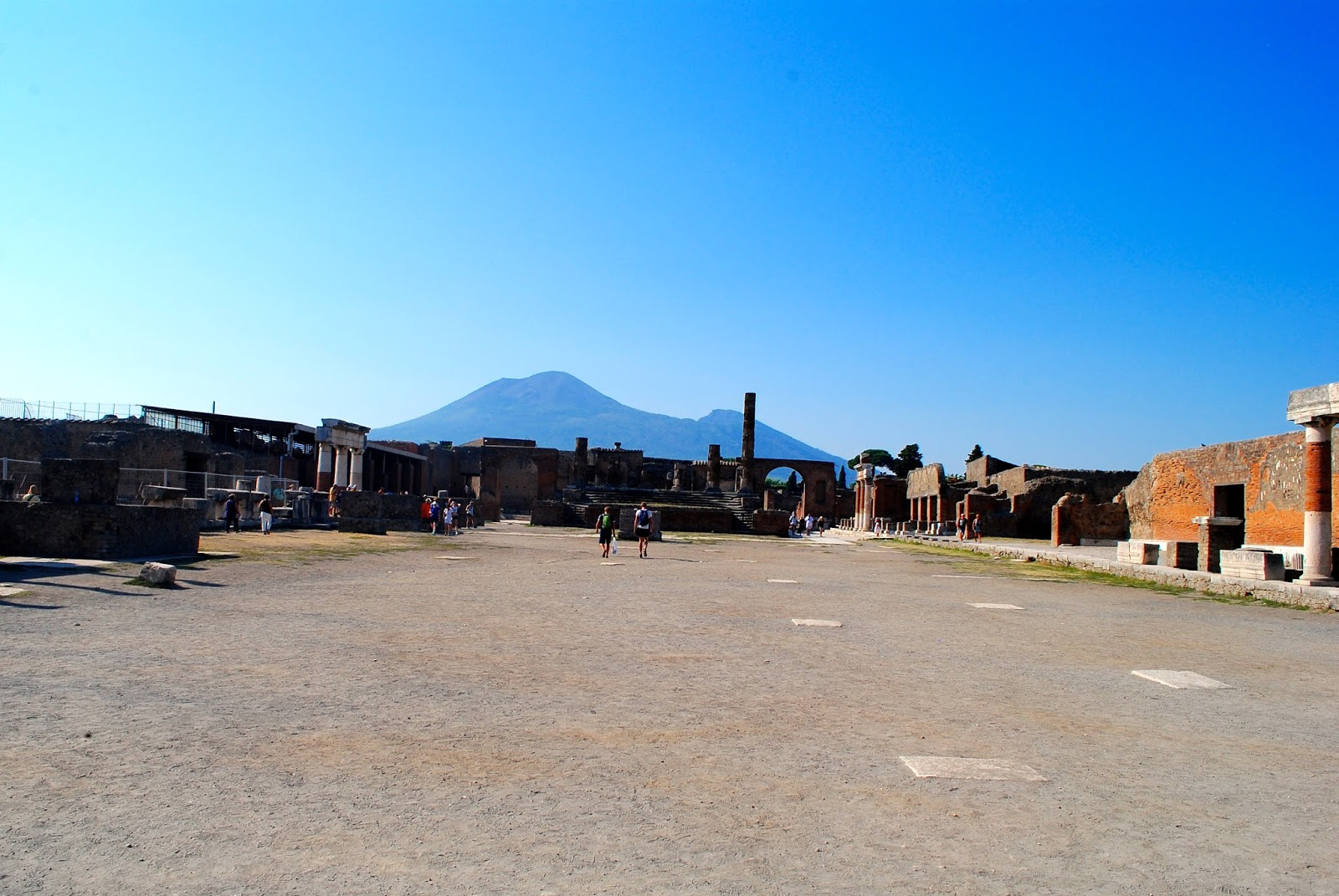 View of Mt Vesuvius from the Forum in Pompeii Italy