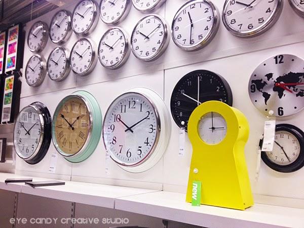 wall of clocks, IKEA clocks, yellow modern clock, wall clocks