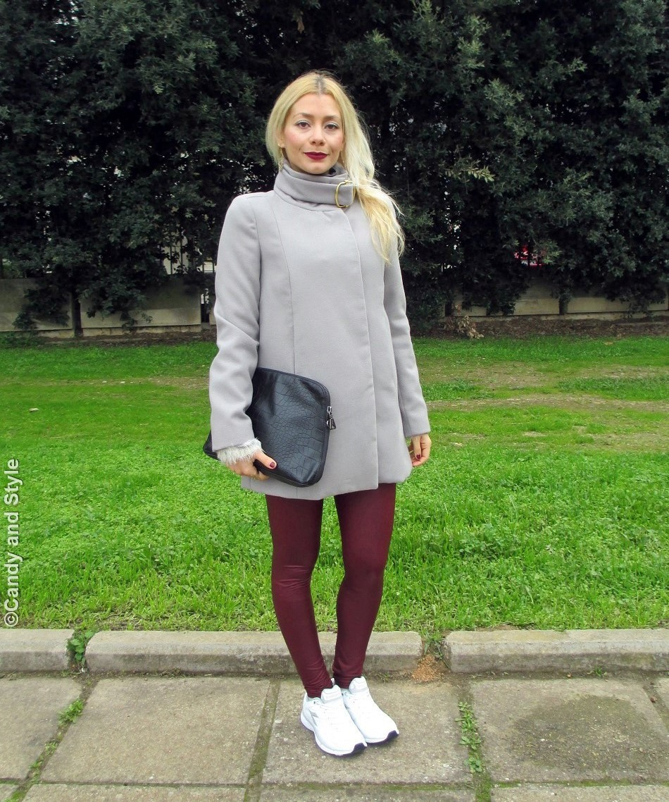 Sporty Chic - GreyCoat+Leggings+Trainers