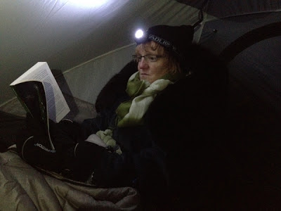 Image of reading by headlamp