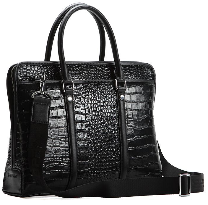 Luxury High-Grade Crocodile Leather Shoulder Computer Black Bag