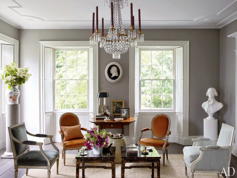 Medium Shades Of Grey That Really Goes Well With White And The Rust  Colored, Velvet Chairs. Image Via Architectural Digest Part 20