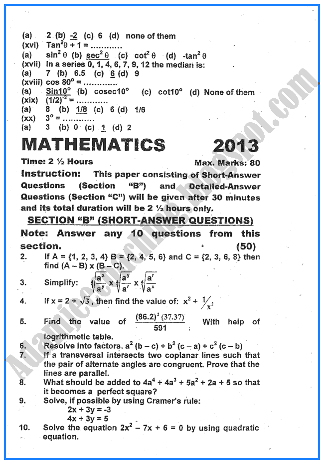 mathematics-2013-past-year-paper-class-x