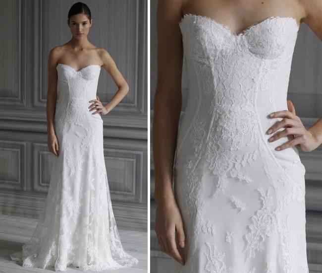 Свадебное платье с кружевом шантильи