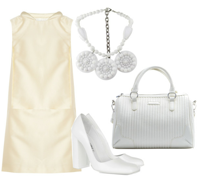victoria beckham dress, white statement necklace, jil sander shoes
