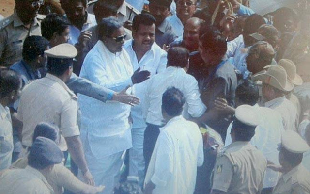 "Kannada TV channels played up a grainy footage on Saturday and said Chief Minister Siddaramaiah had been caught on camera slapping an official.   But the Municipal Corporation Commissioner of Ballari, Ramesh, said the CM had done nothing like that. ""I had gone to give him a bouquet and slipped a little. CM raised his and while asking his security personnel not to push,"" he said."