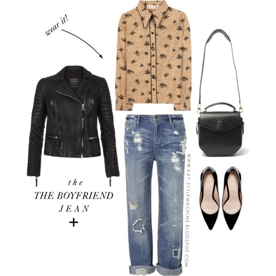 how to style a pair of slouchy boyfriend jeans with leather, printed blouse, heels