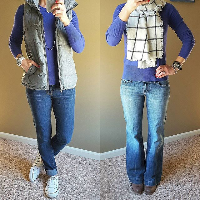 1st Outfit: Mossimo Sweater - some colors on sale for $13! // Old Navy Fleece Lined Vest (almost sold out) // American Eagle Jeans - sold out in full length, but the cropped version is on sale // Converse Tennis Shoes // Fossil Watch (similar for $18) // Old Navy Necklace - in store only (similar)  2nd Outfit: Mossimo Sweater - some colors on sale for $13! // Merona Scarf - on sale for $12! // 7 For All Mankind Dojo Jeans // Steve Madden Boots (this year's version - 40% off!) // Target Men's Watch (similar)