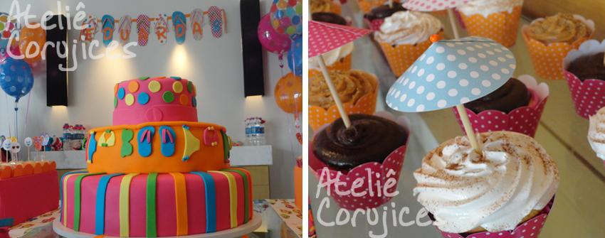 decoracao festa na piscina:detalhe do bolo e dos lindos cupcakes