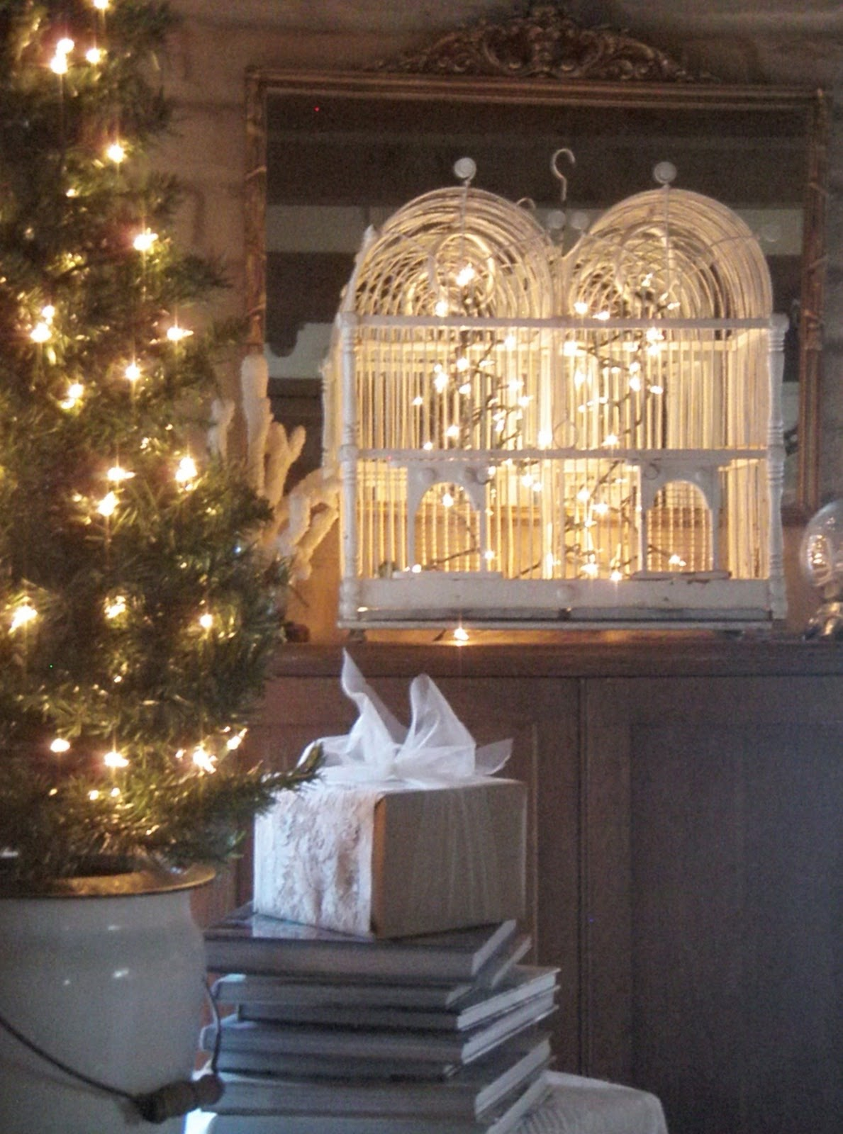 Our hopeful home christmas decorating with vintage birdcages for Indoor light decoration ideas