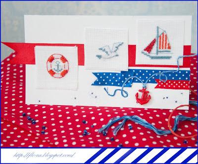 открытка ручная работа, открытка хенд мейд, открытка с вышивкой, открытка морская, вышивка море, вышивка кораблик, вышивка, спасательный круг, чайка, скрап и вышивка, альянс вышивки и скрапбукинга, схема