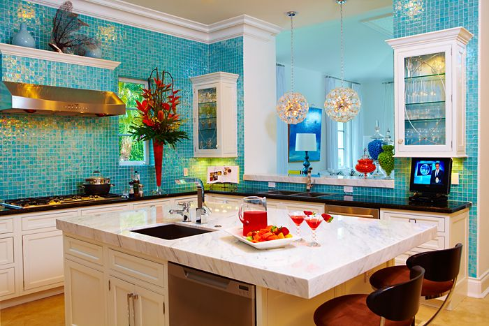 Alkemie An Inspired Turquoise Glass Kitchen