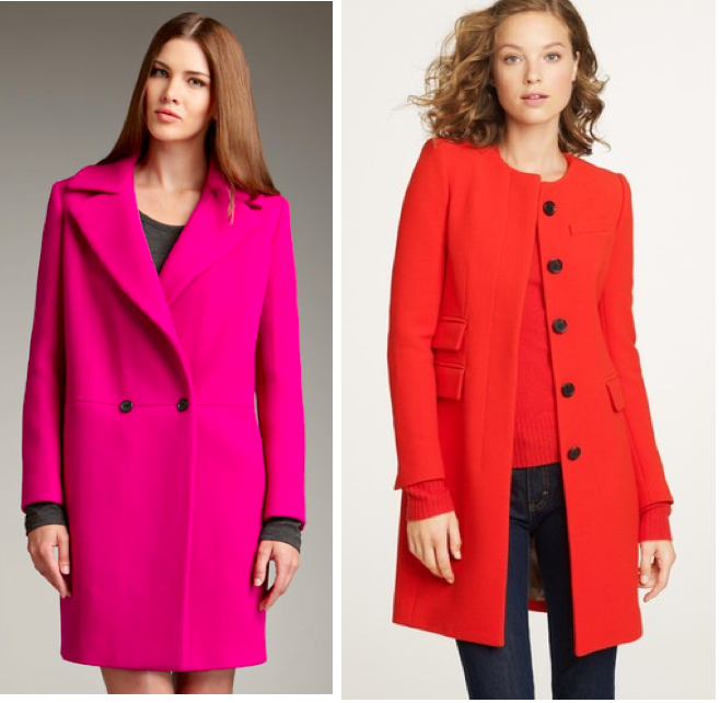 Brighten up your winter coat with these colorful coats! DKNY Double-Breasted ...