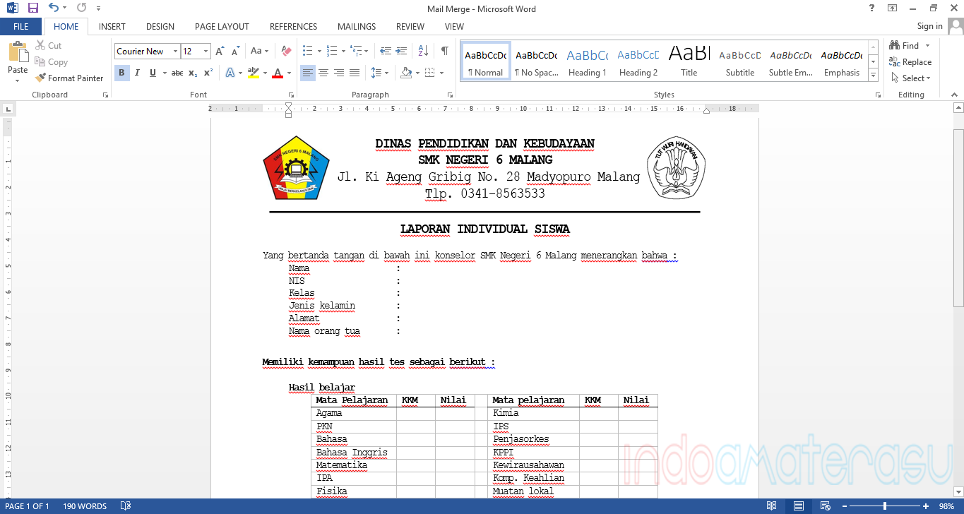 Tutorial Menggunakan Mail Merge Microsoft Office Word 2