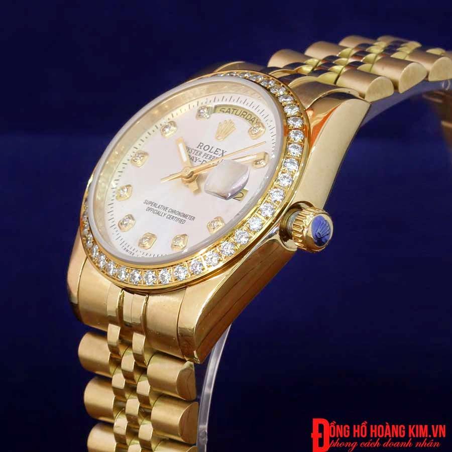 Đồng hồ rolex dây vàng mặt đá