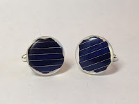 Silver plated round solar panel cuff links