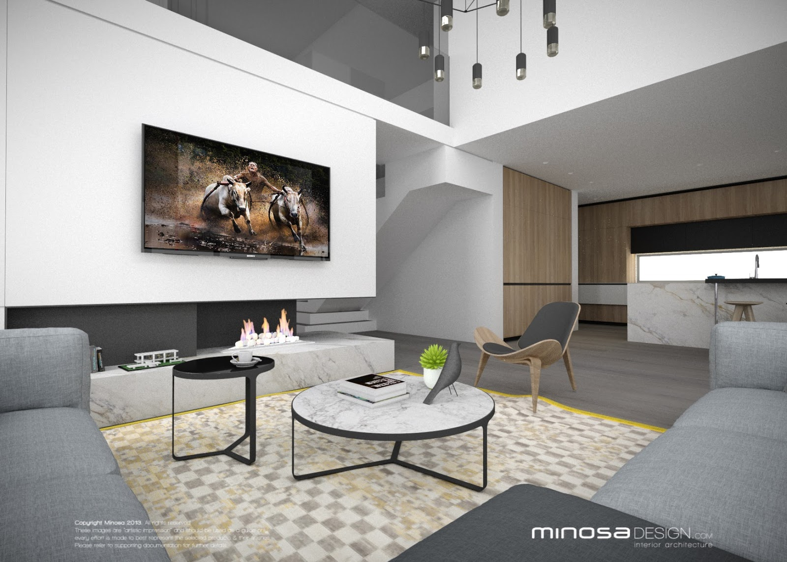 Modern Living Room With Kitchen Interior Design minosa: the modern living room - kitchen, lounge & dine