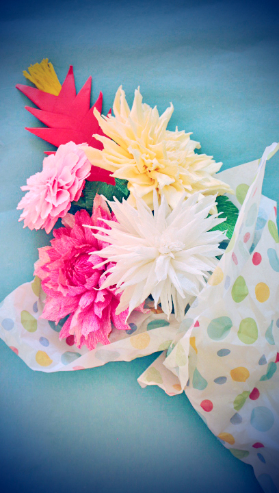 Crepe paper dahlia and handcrafted cards handmade paper flowers crepe paper flowers dahlia mightylinksfo
