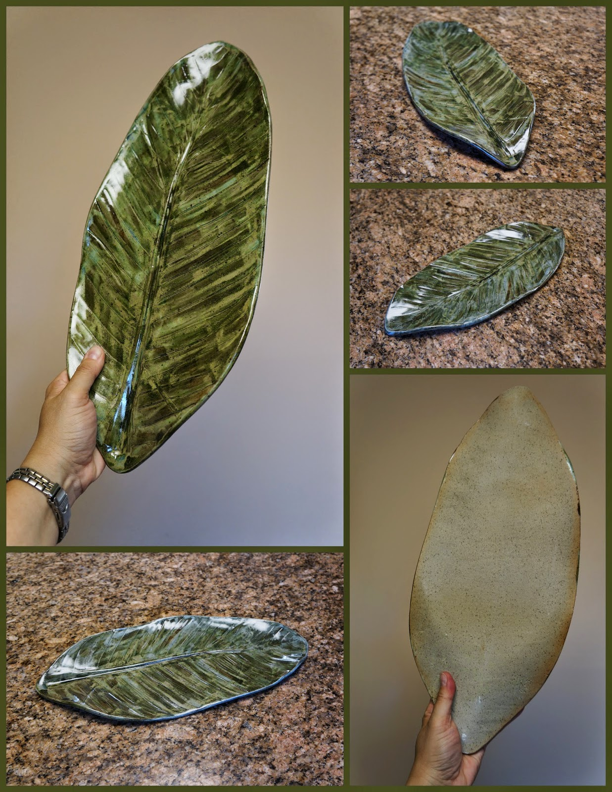 Stoneware pottery ceramic platter made from pressed banana leaf.