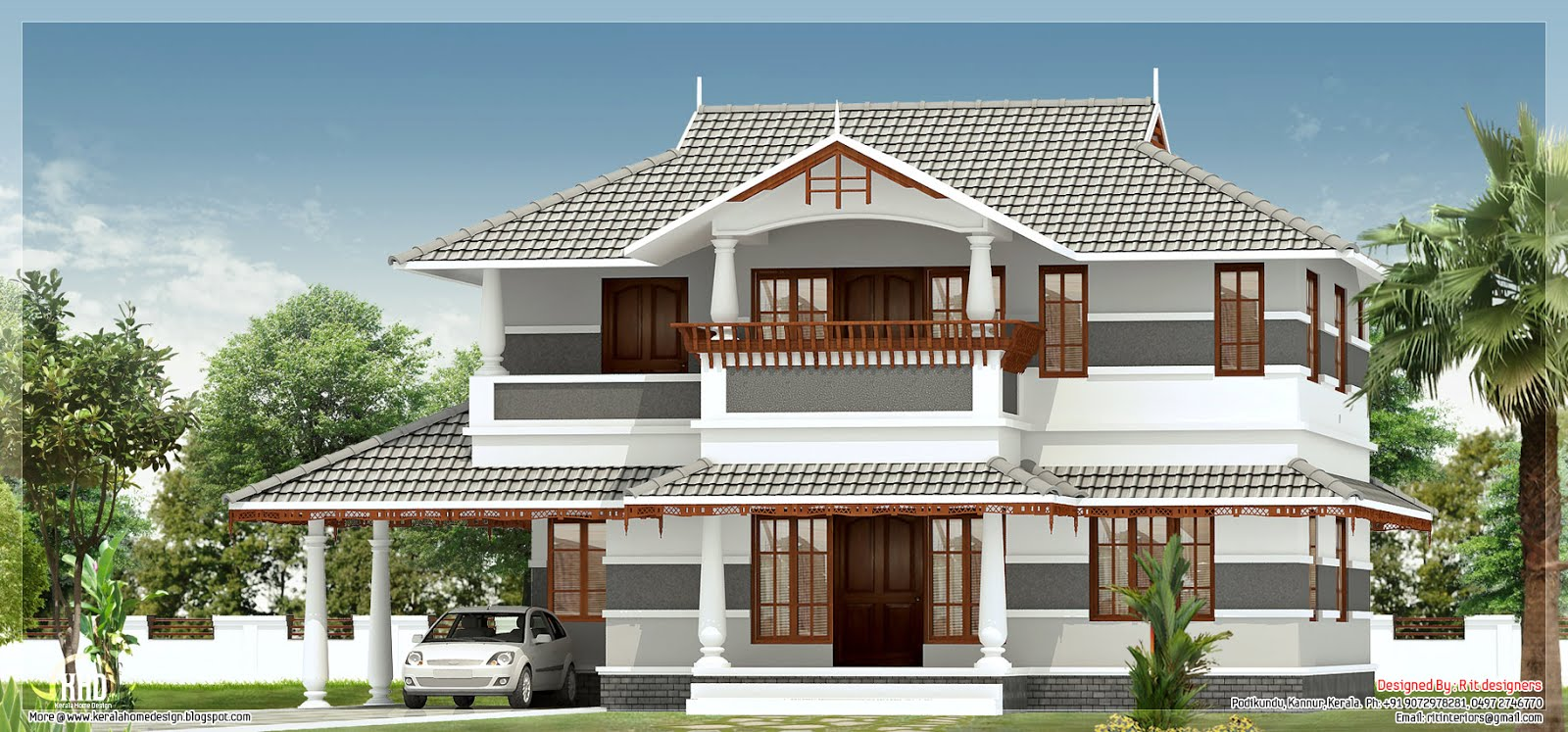 2400 square feet sober colored kerala villa house design for Beautiful villa design