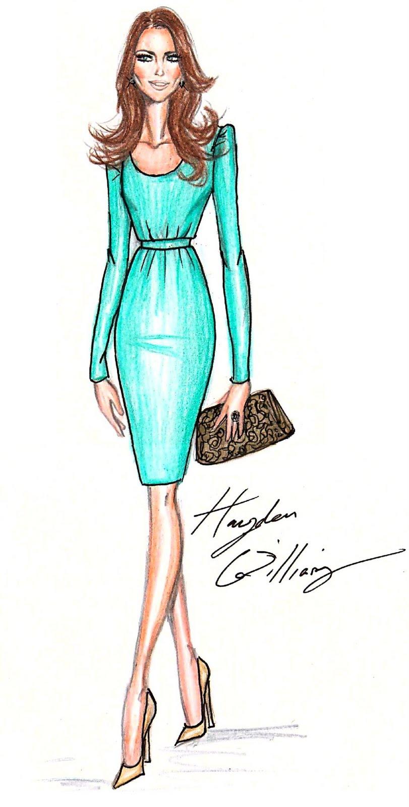 Девушка в модной одежде карандашом