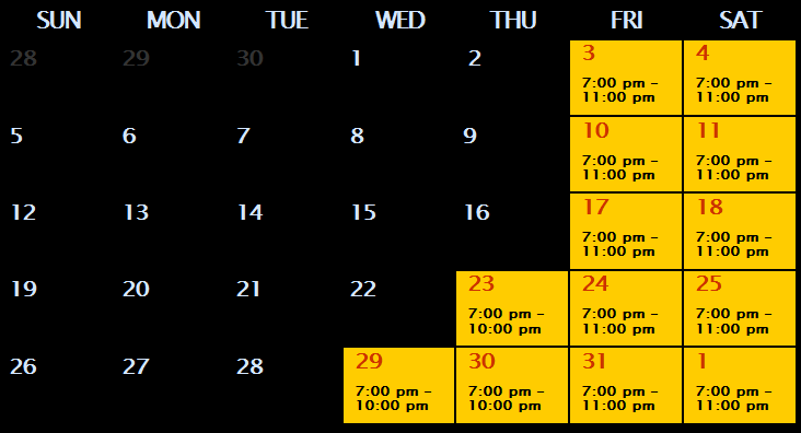 Fear Forest hours of operation for October 2014