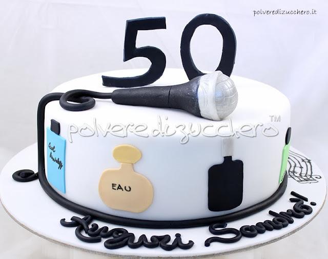 torta 50 anni microfono polvere di zucchero
