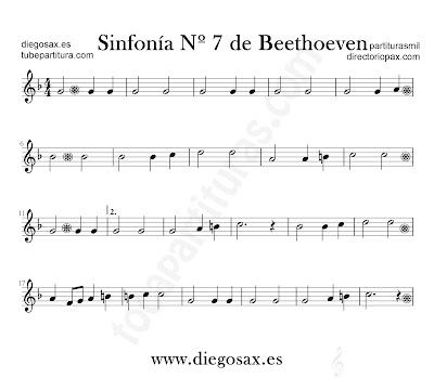 Sinfonía nº 7 de Beethoven partitura para flauta, violín, saxofón alto, trompeta, clarinete, soprano sax, tenor, oboe, corno inglés, barítono, trompa, fliscorno... en clave de Do