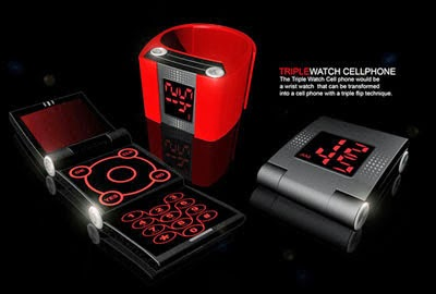 most unik phone design, handphone unik, triple watch