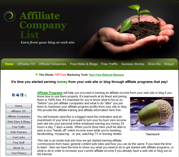 Affiliate programs listings plus affiliate company links