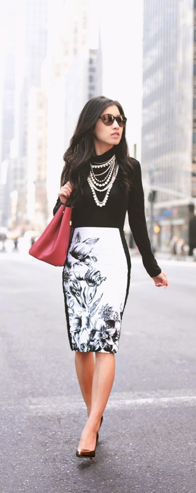 Floral Print Pencil Skirt with Black Top and Gold Pumps | Spring Street Outfits