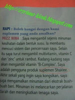 Mizz Nina | Supplemen | Shaklee | Sg. buloh | Setiawangsa