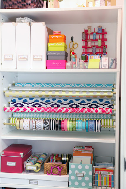 Gift Wrap Cupboard under stairs :: OrganizingMadeFun.com