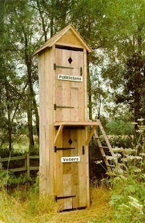 two story political potty with politicians on top voters on bottom