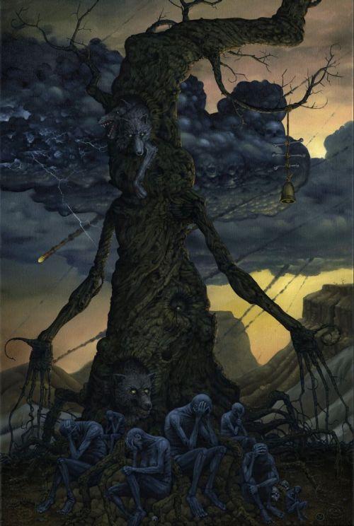 Jeff Christensen js4853 deviantart pinturas surreais sombrias Sob o céu desabando