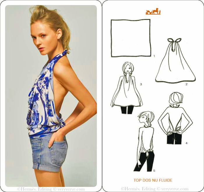 How to wear an Herms scarf as a top Made with an Herms Carr  How To Wear Silk Scarves Hermes