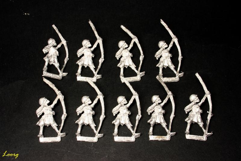 Nueve arqueros esqueleto