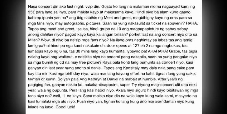 KathNiel Walkout in Italy: Fan's Rant, Star Magic's Statement