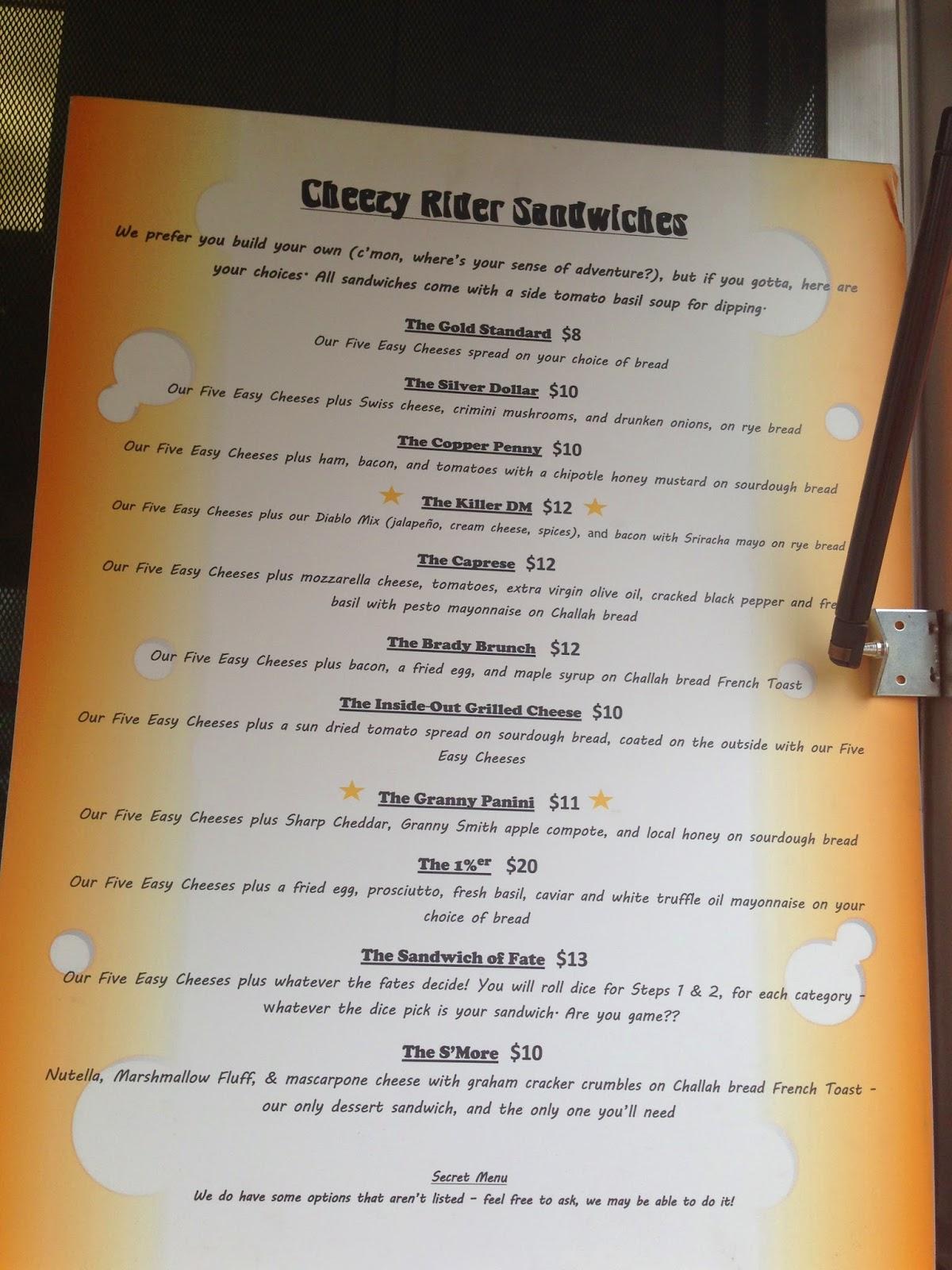 Cheezy Rider Food Truck Menu