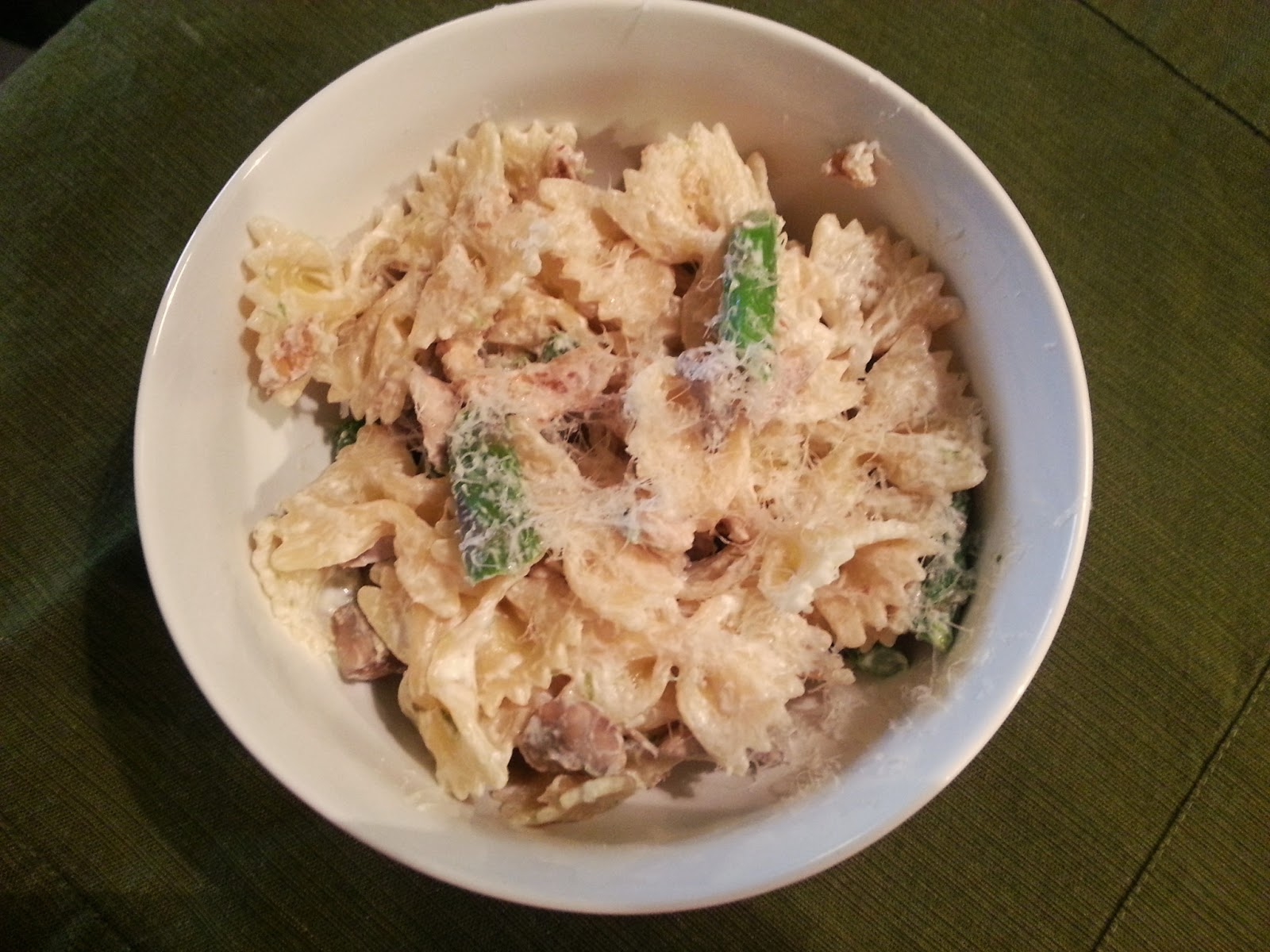 katiemakes: pasta with asparagus, mushrooms, and walnuts