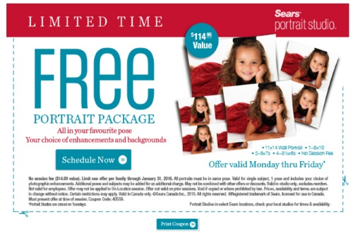 Sears Free Portrait Package Coupon