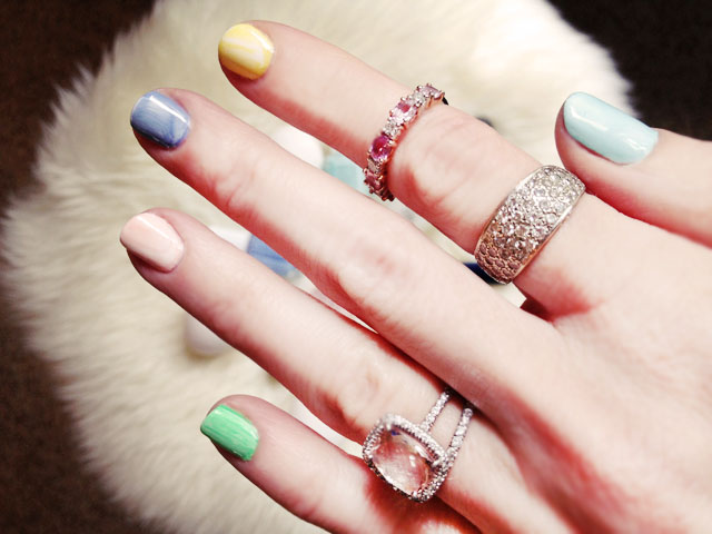 Spring Nails, Easter Pastel Manicure, marbled nail art, rings, jewelry, diamonds
