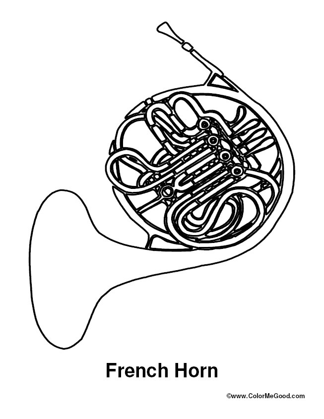 french horn coloring pages - photo#1