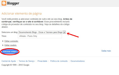 adicionar widget no blogger