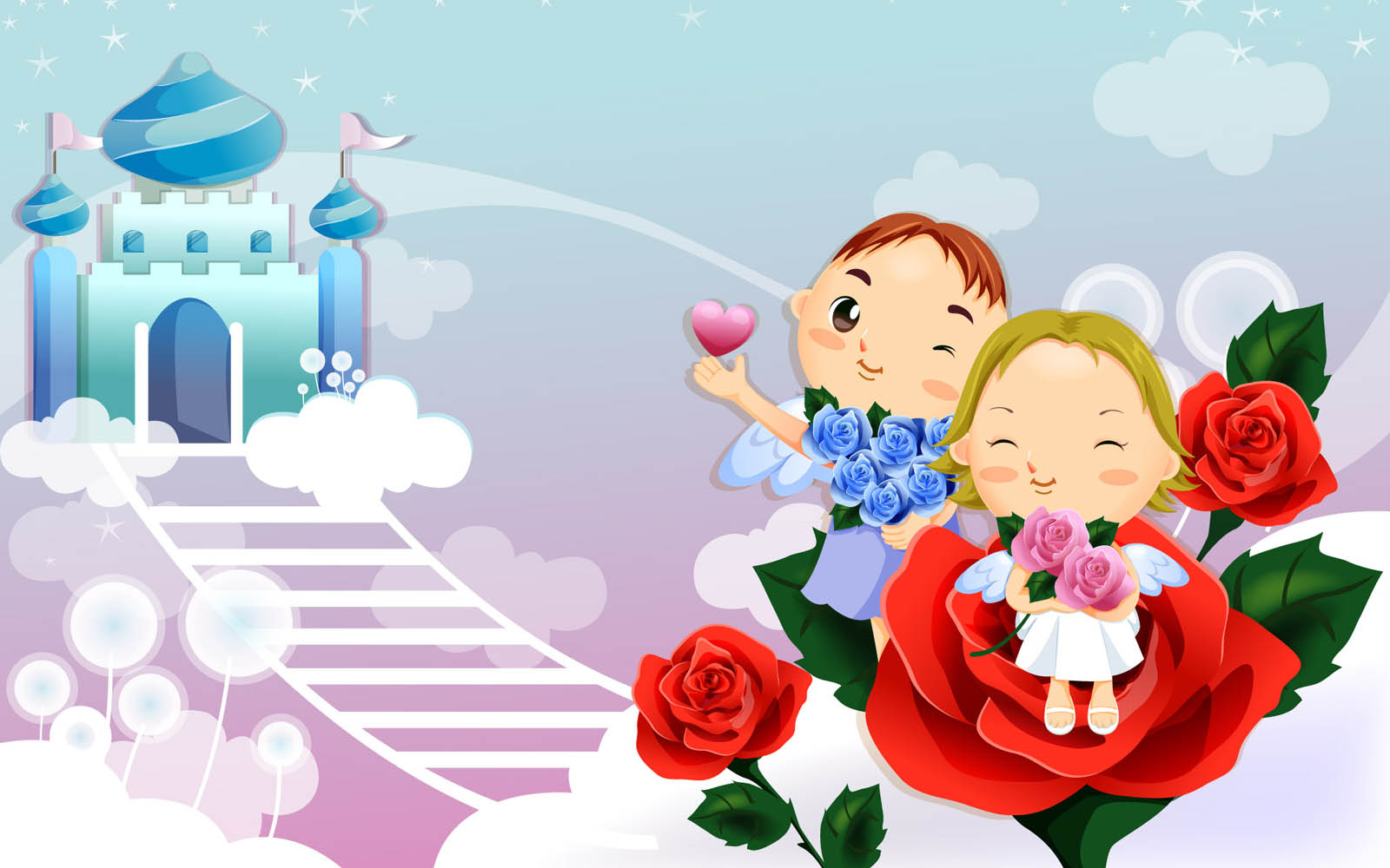 Wallpaper kartun cinta romantis for Wallpaper home cartoon