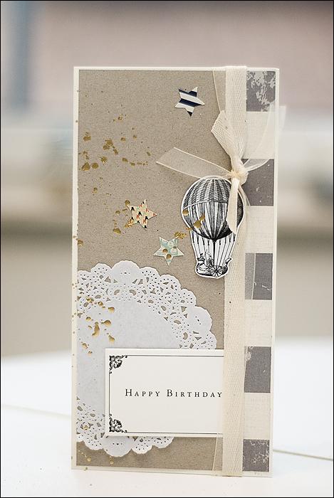 Scrapbooking Geburtstagskarte, Ballon, Sterne